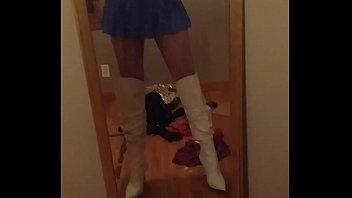 M2f transvestites wearing skirts Blue mini skirt tease