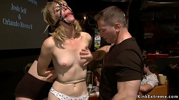 Gagged blonde fucked in public theater