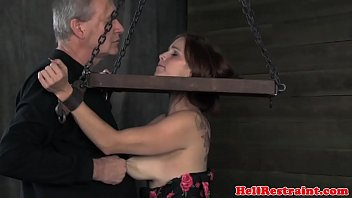 Busty tied up tattood babe tits groped Vorschaubild