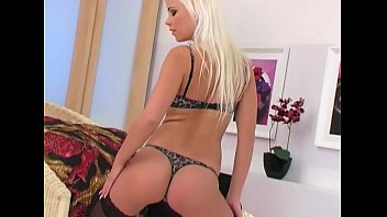 Sexy blonde mas turbates in lingerie and heels gerie and heels