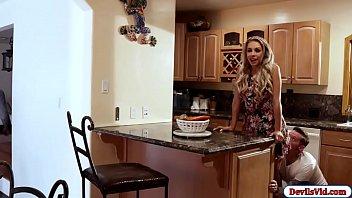 Blonde wife sucks their plumbers cock