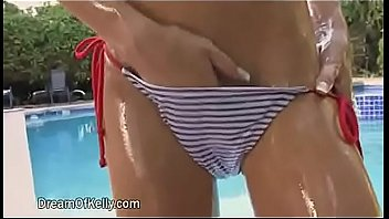 Blue striped ribbon Blue white striated bikini girl jafa edit - sharpened girl strokes her panty in loop