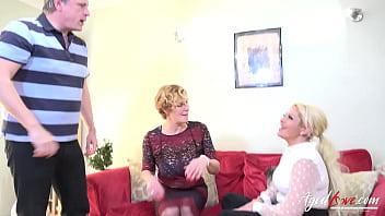 AGEDLOVE Two Blonde Ladies Hard Threesome Sex 10 min