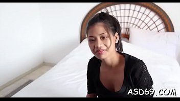 Cute asian sex doll gets her mouth fucked by a concupiscent guy