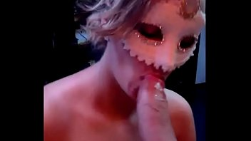 Big Cock Explodes All Over Masked Milf's Big Tits