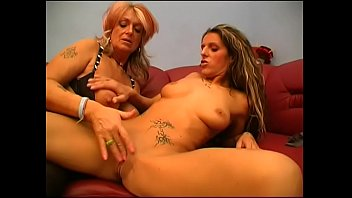 Nasty biker grandma and tattooed chick carpet munch