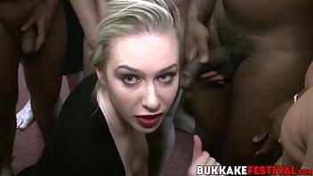Chicks swallow big dicks at the interracial bukkake party