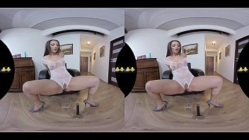 Sexy girls in bodysuits Virtual reality piss play for sexy brunette