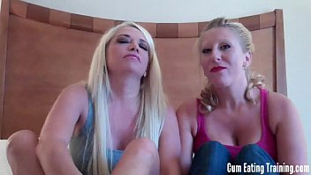 Two dommes making you eat your own cum CEI