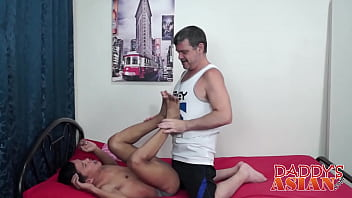 Little Asian bitch Alex bangs with hairy mature Daddy Mike