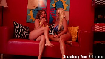 Ballbusting from two hot milfs