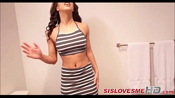 My Brunette Step Sister Sucked Me Off In The Bathroom - SisLovesMeHD.com