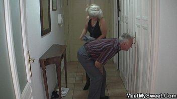 Perverted old parents fuck blonde girl