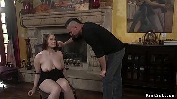 Natural busty hostage is fucked in bdsm