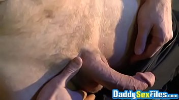 Gays with massive dildos Old daddy strokes his penis and plows himself with toy