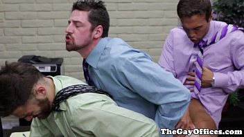 Gay card businesses Andrew stark in an office threeway