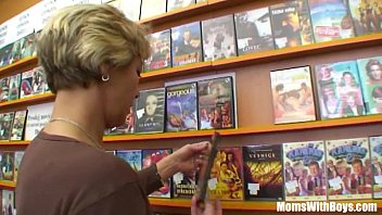 Horny grandma with stripper - Grandma miluska fucking a young video store clerk