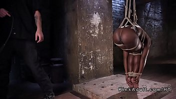 Bound ebony sub got ass flogged Preview