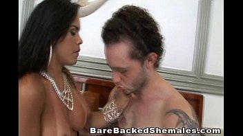 Stunning Shemale Sucks Cock