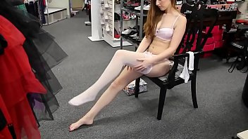 http://www.theprettyfeetgang.com - Sexy Redhead in White Fishnet Stockings