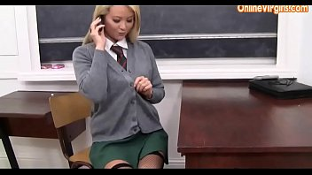 British School Girl in stockings on the phone