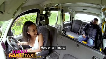 How to fuck in a car Female fake taxi petite ebony cabbie with tiny shaven pussy fucks passenger