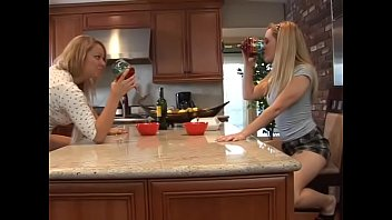 Excellent blonde lesbians Aiden Starr and Brooke Scott are licking one another's pussies on the table after enjoying  good ewd wine