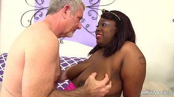 Chubby ebony twat - Black bbw has a white dick stuffed in her mouth and twat