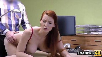 Woman having sex pets Busty redhead customer hypnotizes loan manager with her huge tits