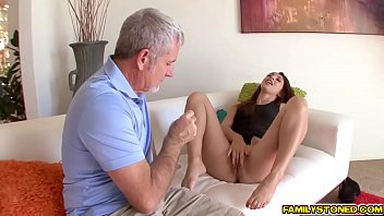 Step Dad stretching Ariana Grands tight pussy