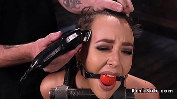 Babe in device bondage gets zippered