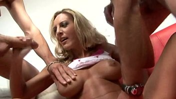 Big titted Julie Robbings getting two guys off manually