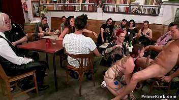 Cafe bondage Huge tits redhead banged in public cafe