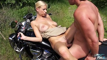 Blonde babe get cum on her big tits when fucked outdoor porn image