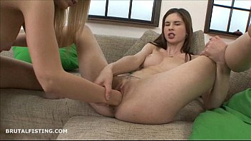Blonde and brunette European lesbians brutally fisting