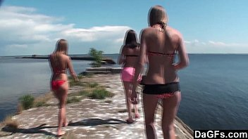 Lesbian trio has a ball on the wharf