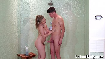 Extremely shy boy got a full experience massage - Lena Paul and Justin Hunt