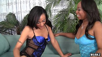 Sexy Lesbian Ebonies in Lingerie Make Sensual Love