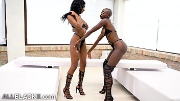 AllBlackX - Babes Play Before Sharing Huge Cock & Facial