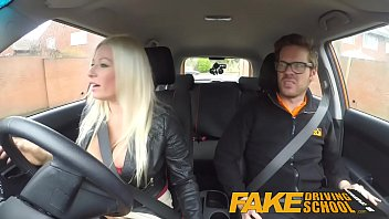 Fake Driving School squirting orgasm busty milf takes creampie after lesson Image