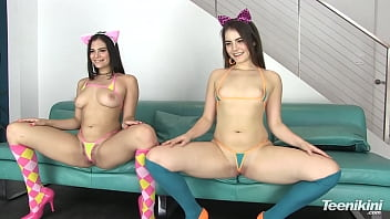 Bikini micro wear Teen cat girls trailer