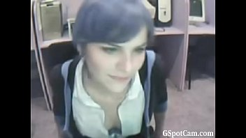 Cute girl showing her tits at office - gspotcam.com