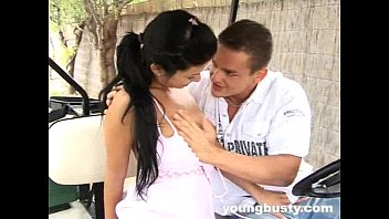 Young busty Ellis gets ass fucked outdoors