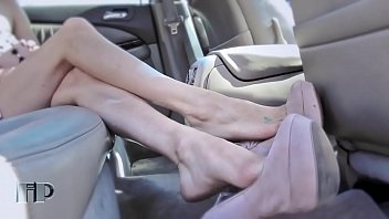 Sexy foot in nylon Sexy feet shoeplay in car part 1- www.prettyfeetvideo.com