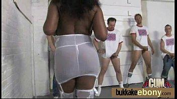 Xxx white lingerie - Chocolate babe gets several white big dicks 25