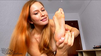 Beautiful Girl Licks Feet - Foot Closeup