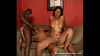 Bisexual studs turn pussy bang into fucking each other in the butt