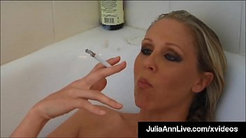 Smoking a bowl naked Busty blonde milf julia ann smokes her cigs soaking in tub