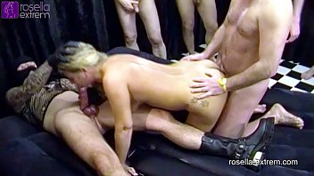 Male dog pees a trail Rosellaextrem in an brutal cum and piss gangbang, dirty used part 3