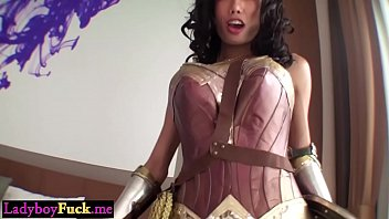 Busty wonder shemale with a big dick anal fucks a guy